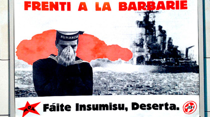 Cartel antimilitarista.